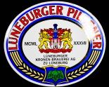 Lüneburger Pilsener Bier, Emaile Werbeschild Kronen Brauerei