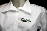 Carlsberg Bier Damen-Kellnerbluse, weiß, 3/4 Arm, gesticktes Logo, Größe S