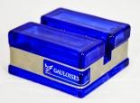 Gauloises Tabak Speisekartenaufsteller, blau, Glas, Schriftzug silber