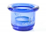 Gauloises Tabak Windlicht, kleine Ausführung, rund, Glasware Relieflabsetzung
