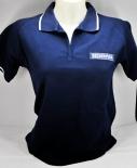 Becherovka Vodka Polo Shirt, Women, Gr.S, blau mit weißem Absatz