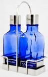 Gauloises, Öl- und Essigflasche im Set, im Edelstahlkörbchen