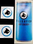 Killerfish Energy, Original 3x Aufkleber, Sticker, Surfer