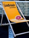 Schöfferhofer Bier Buchenholz Liegestuhl, Strandliege, orange