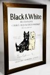 Black & White Wiskey, Werbespiegel, Echtholzrahmen