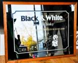 Black & White Wiskey, Werbespiegel, Echtholzrahmen, groß