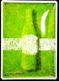 Coca Cola, 3D Werbeblechschild, Blechschild Flasche auf Rasen, WM 2006