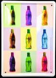 Coca Cola, 3D Werbeblechschild, Blechschild Flaschen bunt