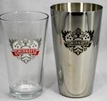 Smirnoff Vodka, Bostonshaker, Edelstahl, schwarzes Logo, Oberteil Glas