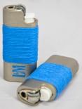 L&M Tabak Mini BIC Feuerzeug in Edelstahlhülle / Cover, blau
