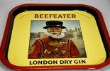 Beefeater London Gin, Metall Tablett, Serviertablett, Metall, eckig, selten..