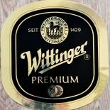 Wittinger Bier, Aufkleber, Wittinger Premium Oval Gold, 26 x 25 cm