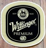 Wittinger Bier, Aufkleber Wittinger Premium oval Matt-Gold, 17,5 x 17cm
