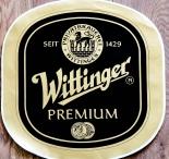 Wittinger Bier, Aufkleber Wittinger Premium oval Matt-Gold, 39,5 x 38,5cm