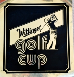 Wittinger Bier, Aufkleber, Wittinger Golf Cup, 40 x 38 cm