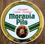 Moravia Pils Bier, Aufkleber Kronen Brauhaus Lüneburg, rund, Gold, d 35cm