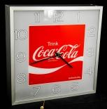 Coca Cola, Wanduhr in Alugehäuse, Leuchtreklame, Leuchtwerbung