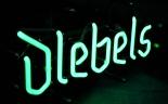 Diebels Alt Bier, Neon Leuchtreklame, Neonreklame, Barleuchte Diebels, grün