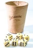 Dithmarscher Bier Echt Leder Würfel Knobelbecher m. 6 Würfeln, Spiele