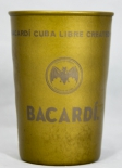 Bacardi Rum, Metallbecher, Becher, Vintage Look, Used Look, Bronze