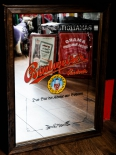 Budweiser / Budvar Bier, Werbespiegel / Spiegel in Echtholzrahmen