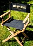 Osborne Brandy, Regiestuhl, Stuhl aus Holz, Regisseur, schwarz mit Schriftzug