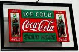 Coca Cola Werbespiegel, Barspiegel, Spiegel,  SOLD HERE , schwarzer Rahmen