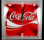 Coca Cola, 3D Wanduhr, Uhr, Rechteck, Holzoptik, rot/grau