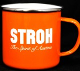Stroh Rum Emaile Metall Becher, orange, Kaffeebecher, Tasse