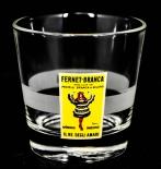 Fernet Branca, Glas, Gläser, Mini Tumbler Gelbes Logo satinierter Ring