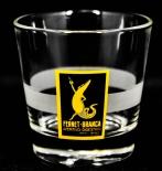 Fernet Branca, Glas, Gläser, Mini Tumbler Schwarzes Logo satinierter Ring