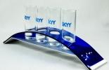 Skyy Vodka, 4-fach Shotglasträger, Stamper Aufsteller, Shotglas, Glas / Gläser