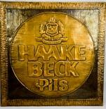 Haake Beck Bier Pils, Kupferstich, Poster, Bild, Schild / Werbeschild, groß
