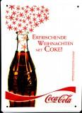Coca Cola, Werbeschild, Blechschild Erfrischende Weihnachten mit Coke Schild