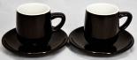 Tchibo Kaffee, 2er Espresso Set, Tasse/Tassen mit Untertasse/Untertassen, braun