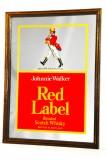 Johnnie Walker Red Label Whisky, Werbespiegel, Barspiegel, Spiegel in Goldrahmen