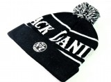 Jack Daniels Wollmütze, Pudelmütze, Wintermütze, schwarz / weiß