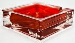 West Tabak, Kristall Aschenbecher, eckig, rot transparent, schwere Ausführung