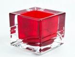 West Tabak, Kristall Windlicht, Kerze, eckig, rot transparent, schwere Ausführung