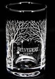 Belvedere Vodka, Shot Glas, Stamper, Vodkaglas, Gläser, Baumsignatur weiss