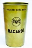 Bacardi Rum, Metallbecher, Becher, used LOOK, Vintage, Gold