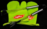 Iglo 2 x Grillhandschuh incl. 1 x Edelstahl Grillzange, grün
