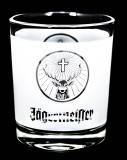 Jägermeister Likör, Windlicht, Teelicht, weiß satiniert