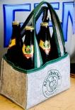 Alpirsbacher Klosterbräu Bier, Filz Flaschenträger, 6er Träger, faltbar