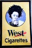 West Tabak, Original 80er Jahre Blechschild, Werbeschild Frauenkopf