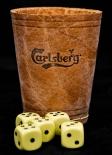 Carlsberg Bier, Würfelbecher, Knobelbecher mit 5 Würfeln (Echt Leder)