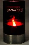 Ramazzotti Likör, Glas Windlicht, Edelstahl, rote Ausführung, 2 teilig.