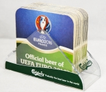 Carlsberg Bier, Bierdeckelständer Acryl incl. 30 x Bierdeckel  UEFA EURO 2016