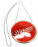 Duckstein Bier Brauerei, Zapfhahnschild, Emaile, Schild, Tresen, rund-rot