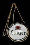 Lübzer Bier Brauerei, Zapfhahnschild, Emaile, Schild, Tresen, Rund/Weiß